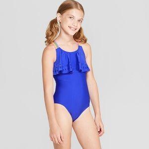 NWOT Cat & Jack Laser Cut Swimsuit Blue-Rainbow